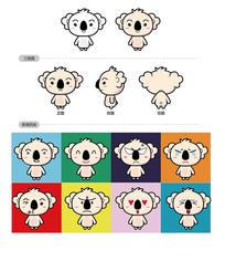 树懒卡通形象及表情矢量设计