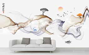 意境抽象水墨山水画背景墙