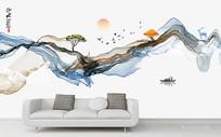 中国风水墨山水背景墙