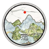 大理石瓷砖水刀拼花中式山水画