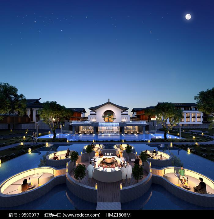 酒店水上餐厅效果图图片