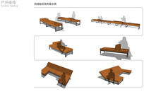 流线型沿线布置长凳设计方案