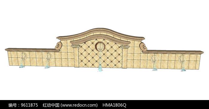 欧式景墙水景图片