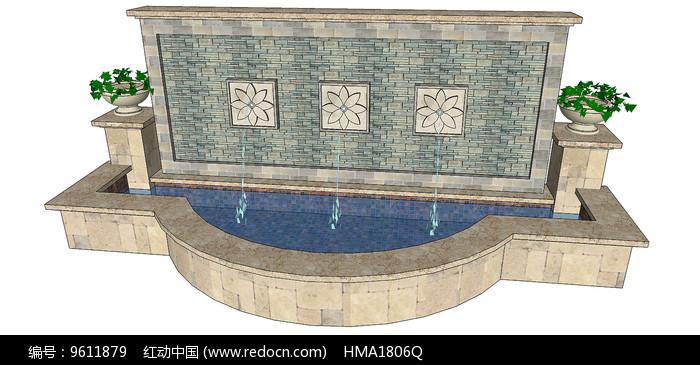 欧式入口水景墙图片