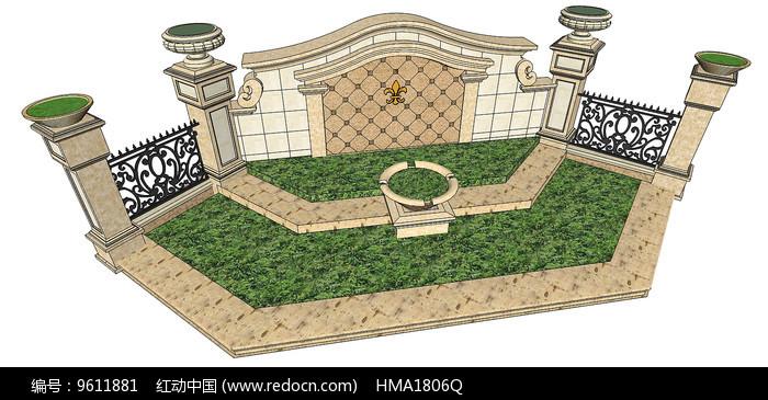 欧式树池景墙图片