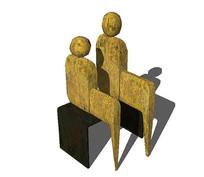 双人雕塑 skp