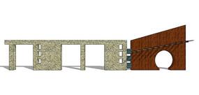 中式门洞景观墙