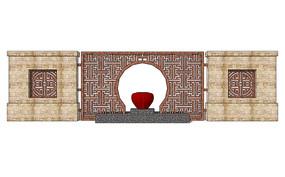 中式入口景观墙