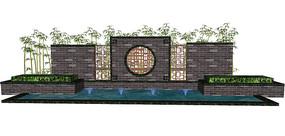中式水景景墙