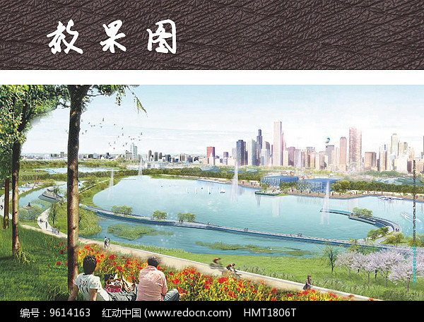 滨水公园喷泉水景效果图图片