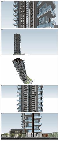 超高层现代风格住宅模型