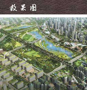 城市绿地公园鸟瞰图景观