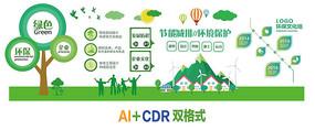 高端大气绿色环保文化墙设计