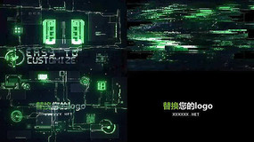 高科技元素文字标志AE模板