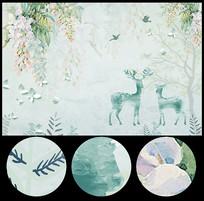 清新时尚手绘花卉壁画背景