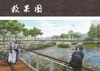 湿地栈道植物园效果图