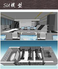 现代办公室布局设计SU
