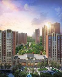 现代高层住宅小区效果图 JPG