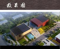 现代文化展馆建筑景观效果图