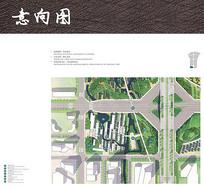 休闲商业街彩色平面图