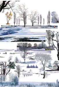 雪景分层素材