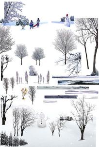雪景树木素材