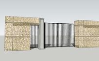 建筑围墙模型 skp