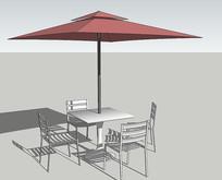 室外茶座桌椅SU