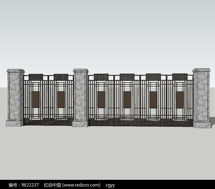 原创设计稿 3d模型库 围墙|栏杆|大门 现代精美铁艺围墙su  请您分享图片