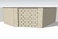 现代石质围墙SU skp