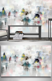 中式彩色山水画卧室背景墙