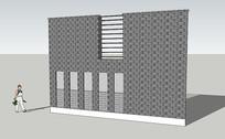 住宅青砖围墙 skp
