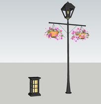 典雅庭院灯柱小品skp