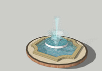 简约欧式圆形水池SU skp