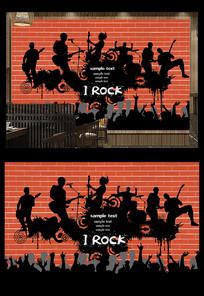 酒吧KTV摇滚音乐背景墙