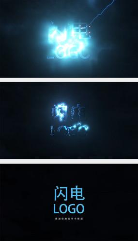 闪电logo片头AE模板
