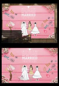 摄影店婚纱店工装背景墙