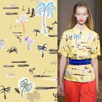 矢量椰子树花纹服装面料