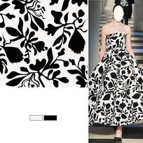 矢量印花黑白裙子面料