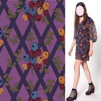 矢量印花紫色格子裙面料