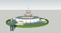 圆形喷泉水池SU skp