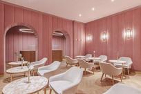 粉色系甜品店室内座位 JPG