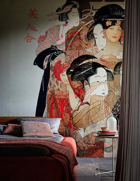国外设计师室内中式壁画卧室