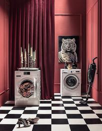 国外室内创意红色洗衣房
