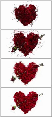 玫瑰花组成的心背景视频