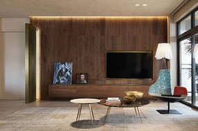 木头元素客厅电视背景墙