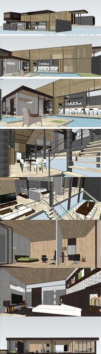 别墅现代住宅建筑设计SU模型