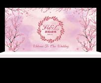 粉色花卉主题婚礼背景设计