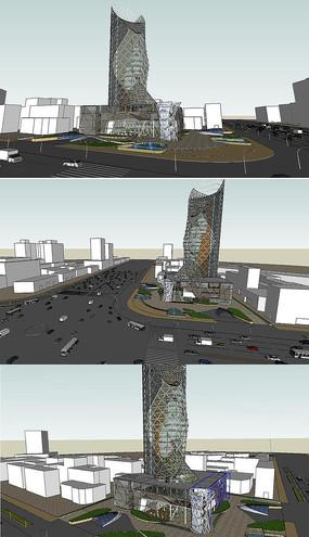 高层办公楼设计SU模型
