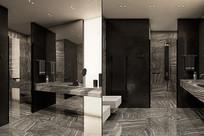 黑白瓷砖大气卫生间意向